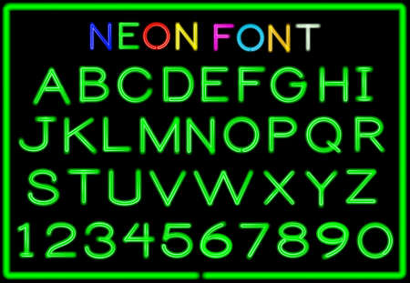 blu: Set of neon letters and numbers.  Illustration