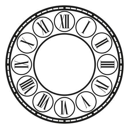 vintage clock on white . Illustration clip art