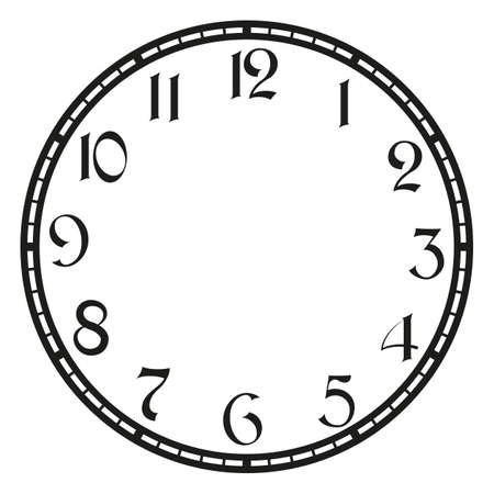 vintage clock on white . Illustration clip art