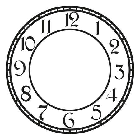 dial:  vintage clock on white . Illustration clip art Illustration