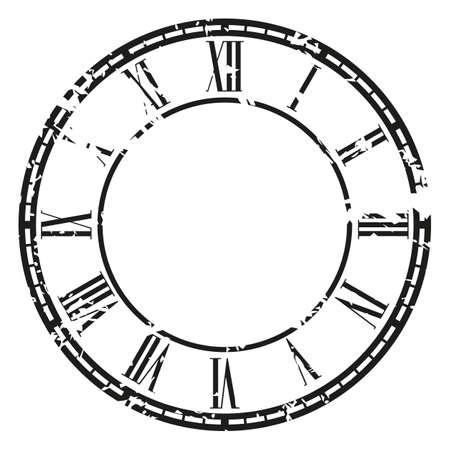 白グランジ ビンテージ時計。イラスト クリップ アート
