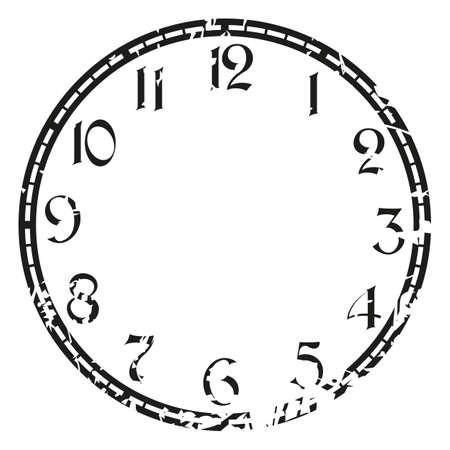 vintage grunge clock on white . Illustration clip art Vettoriali