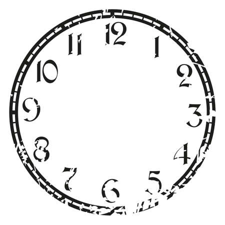 vintage grunge clock on white . Illustration clip art Иллюстрация