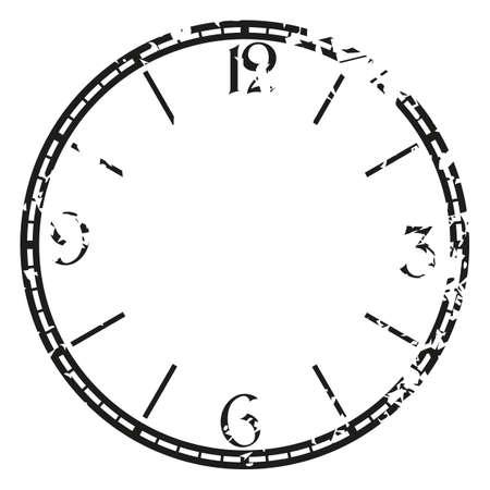 reloj de la vendimia del grunge en blanco. Arte de la ilustraci�n del clip