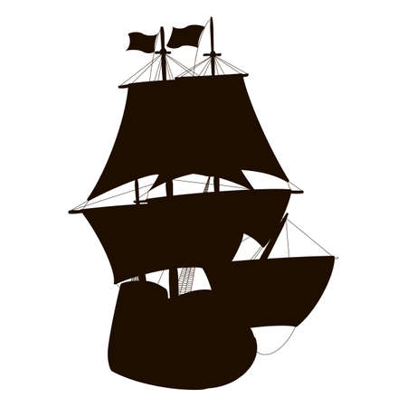 galley: Silhouette of a sailboat isolated on white Illustration
