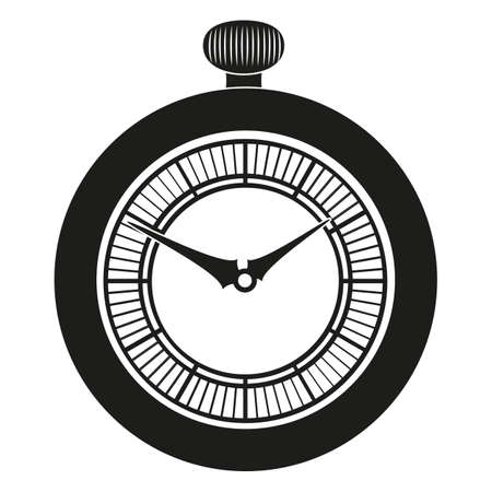 pocket watch: Pocket Watch silhouette isolated on white background Illustration