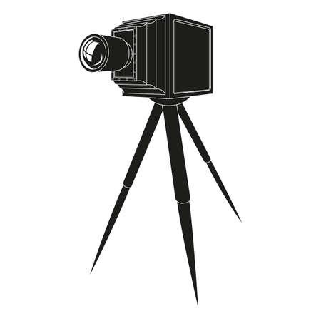 предмет коллекционирования: Старый фотоаппарат со штативом силуэт иллюстрации Иллюстрация