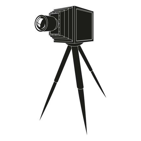 Old photo camera with tripod  silhouette illustration Illustration