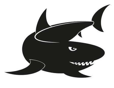 shark fin: silhouette illustration of a shark