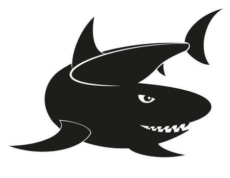 silhouette illustration of a shark