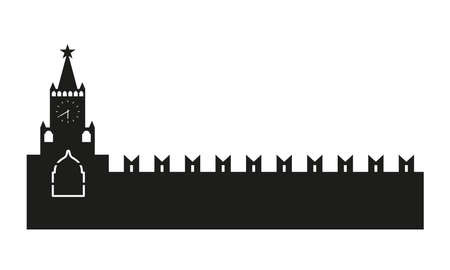 クレムリンのシルエット。白い背景で隔離のベクトル図  イラスト・ベクター素材
