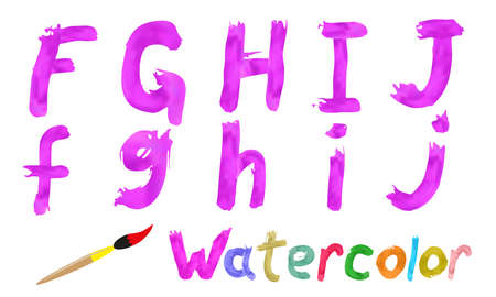 written text: Pink watercolor font. Gradient mesh. Easy to edit Illustration