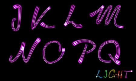 gradient mesh: Set of neon letters. Vector. Gradient mesh Illustration