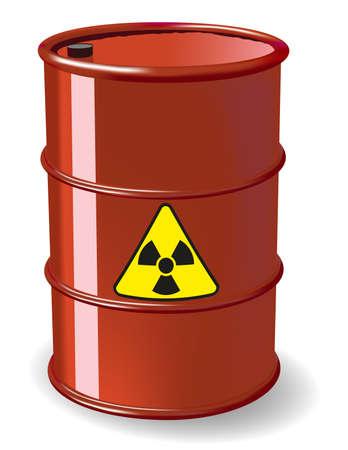 Red barrel of radioactive waste. Gradient mesh