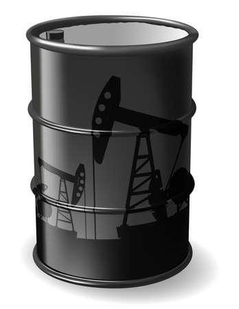 beam pump: Barrel of oil with a reflection of oil rigs