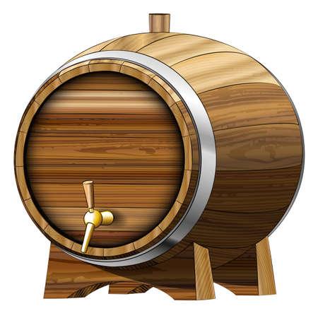 food wine: Wooden Beer barrel. Vector illustration. Clip art