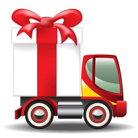 juguetes: Caja de regalo en el cami�n de reparto. gradiente de malla Vectores