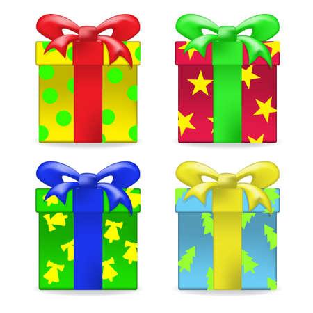 gradient mesh: Vector color gift box set. Gradient mesh