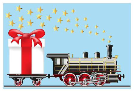 Steam locomotive with gift box vector. Gradient mesh Illustration