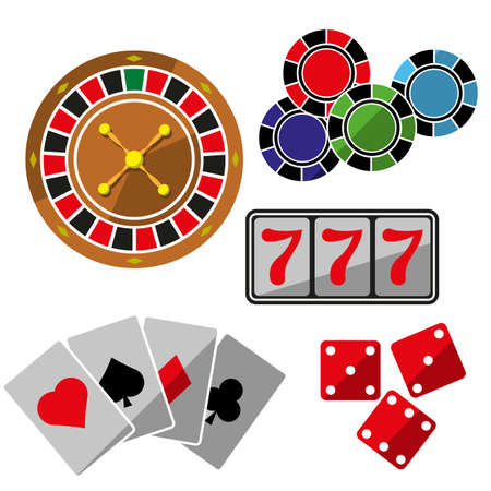 Vector casino flat icons set isolated on white.