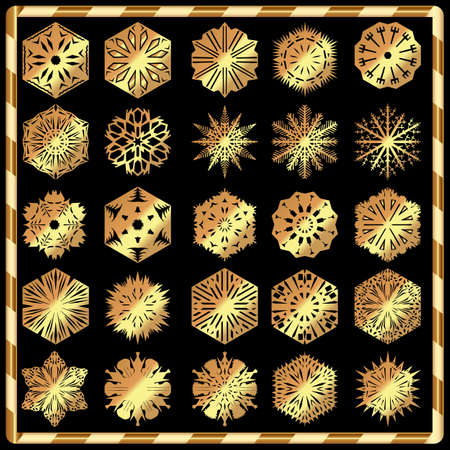 gold snowflakes: Set of gold snowflakes isolated on black background Illustration