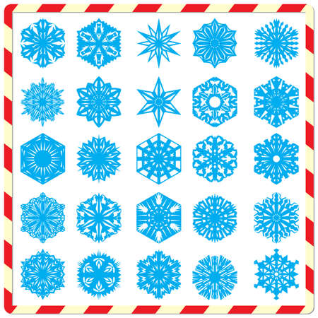 isolated: Set of snowflakes isolated on a white background