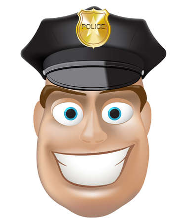security guard: Smiling good  police man. Vector illustration. Gradient mesh Illustration