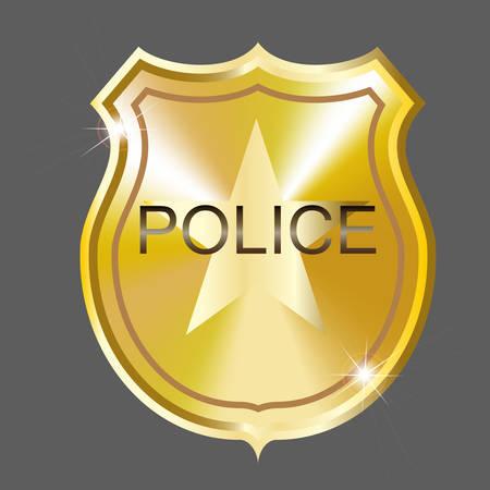 Vector golden  police badge. Illustration. Gradient mesh Illustration