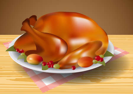 fried chicken wings: Thanksgiving fried turkey vector illustration clip art Illustration
