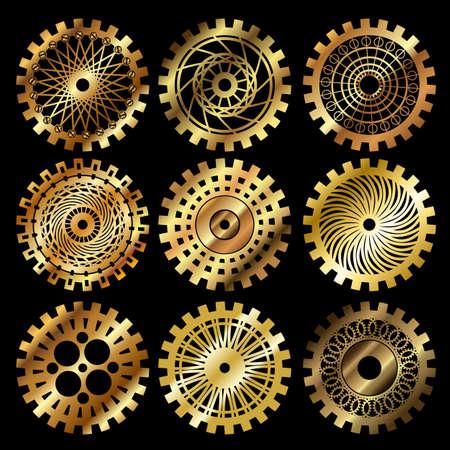 Vector engrenages d'or fixés dans le style de steampunk