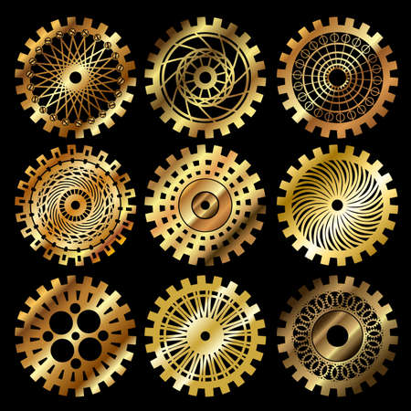 steampunk: Vector golden gears set in the style of steampunk