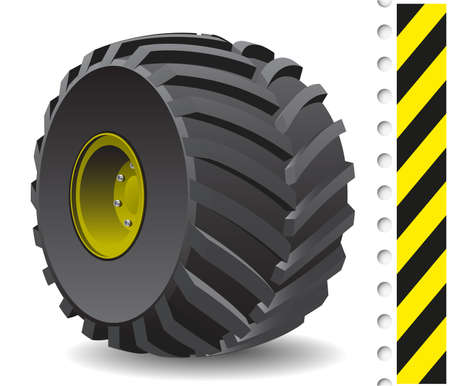 caravans: Tractor wheel isolated on white background. Vector