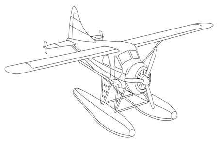 ベクトル レトロ水上機。イラスト クリップ アート。白で隔離  イラスト・ベクター素材