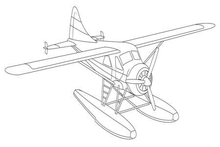 Vector retro seaplane. Illustration clip art. Isolated on white 向量圖像