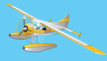 Vector retro seaplane. Illustration clip art. Isolated on blue background