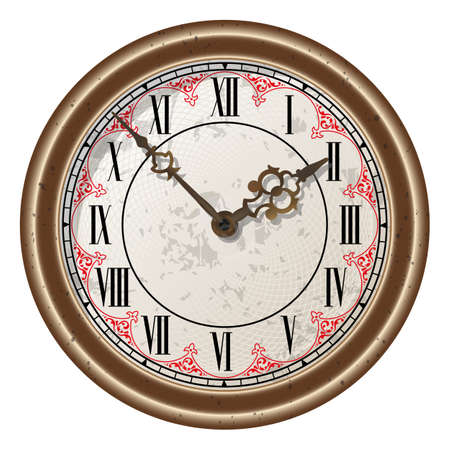 Ancient clock vector illustration . Isolated on white Illustration