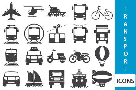and the air: Set of icons with vehicles. Illustration