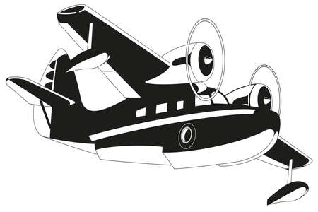 commercial airplane: retro seaplane. Illustration clip art. Isolated on white