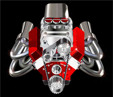 Detailed illustration of Hot Rod Engine. Vector. Isolated on black