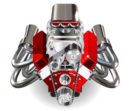 car engine: Detailed illustration of Hot Rod Engine. Vector. Isolater on white