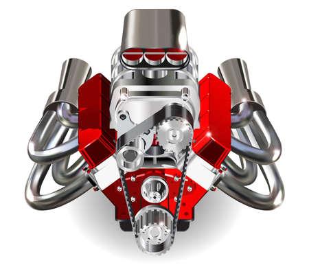 Szczegółowa ilustracja Hot Rod Engine. Wektor. Isolater na białym