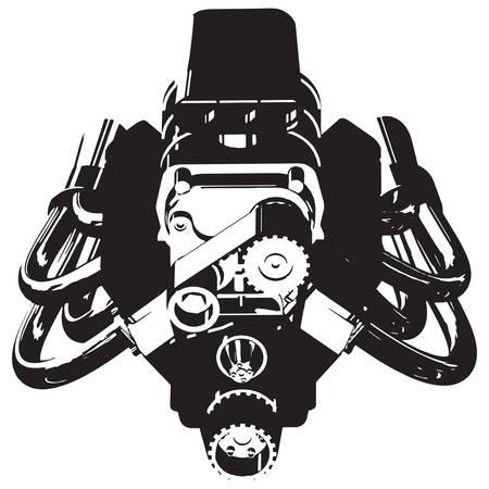 Silhouette of Hot Rod Engine. Vector illustration Stock Illustratie