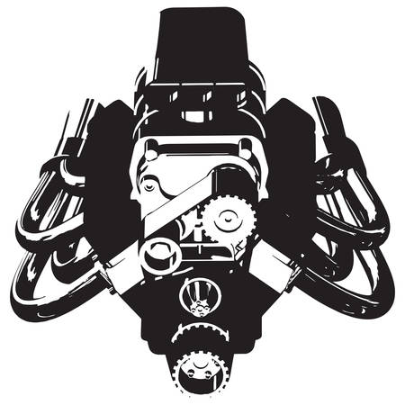 Silhouette of Hot Rod Engine. Vector illustration Vectores