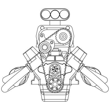 injection valve: Schematic drawing of Hot Rod Engine. Vector illustration