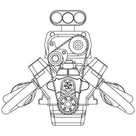 Schematische tekening van Hot Rod Engine. vector illustratie