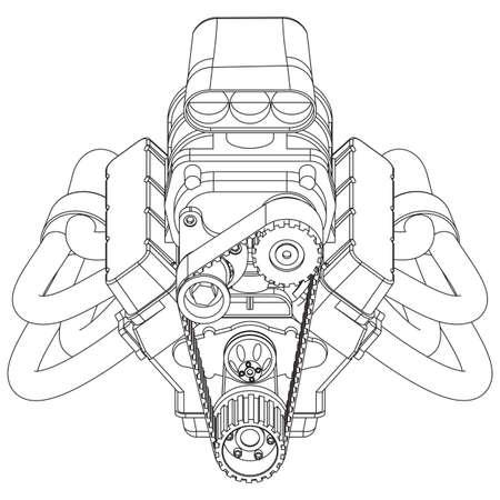 Schematische tekening van Hot Rod Engine. vector illustratie Vector Illustratie