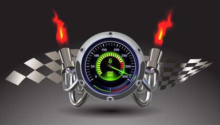 Modern illuminated speedometer background. Vector illustration clip art.