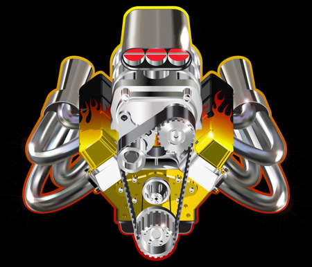 car engine: Detailed illustration of Hot Rod Engine. Vector. Isolated on black