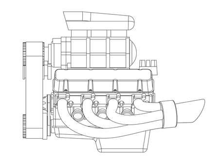 ホットロッド エンジンの図。ベクトル図  イラスト・ベクター素材