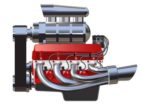 Gedetailleerde illustratie van Hot Rod Engine. Vector. Op wit wordt geïsoleerd